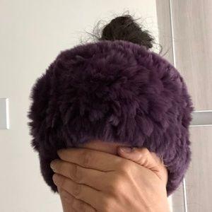 Accessories - Purple warm winter headband real fur NWT